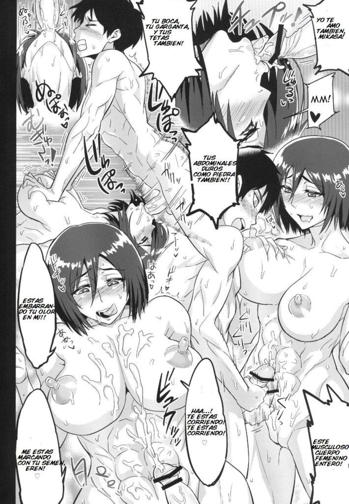 Mikasa cogiendo